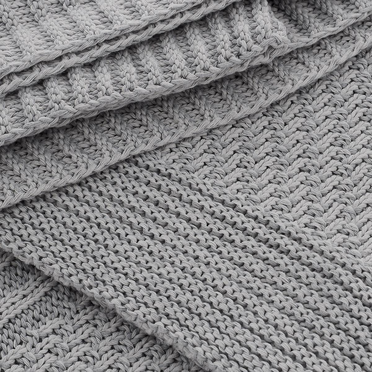 """Покрывало вязанное Леди прима """"Верона"""", цвет: серый, 150 см х 200 см"""