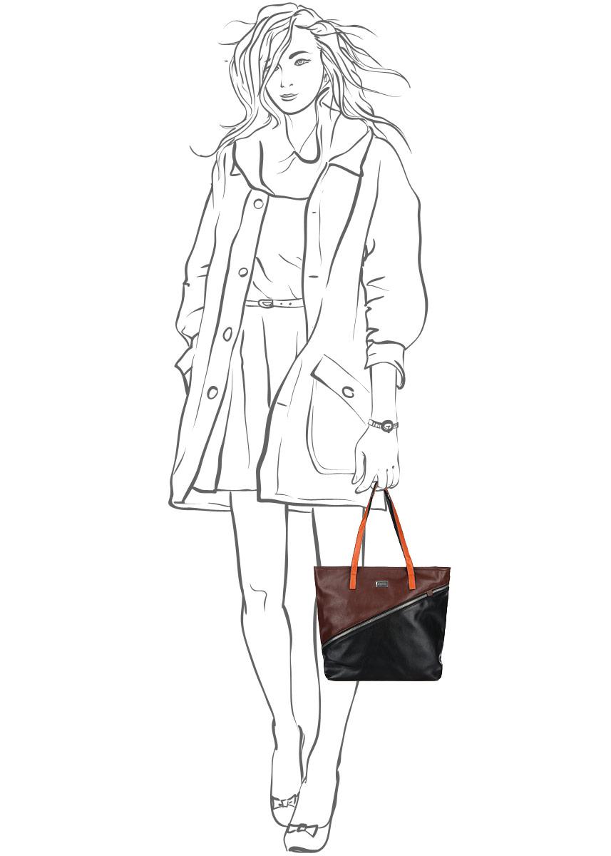 Сумка женская Leighton, цвет: черный, коричневый. 570505-5590/292/5/292/23 ( 570505-5590/292/5/292/23 )
