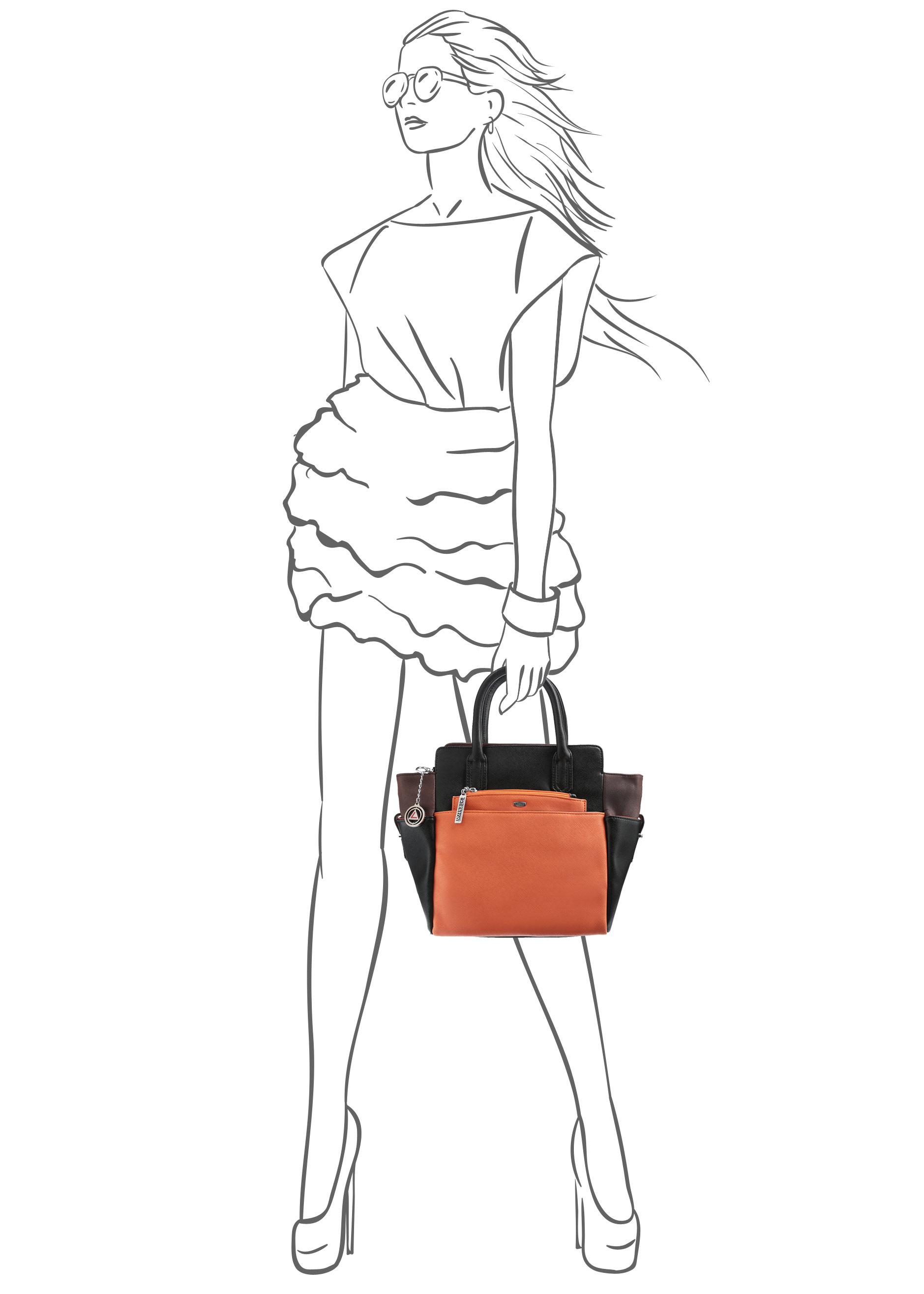 Сумка женская Leighton, цвет: черный, темно-коричневый, оранжевый. 570382-3769/1/3769/7/3769 ( 570382-3769/1/3769/7/3769 )