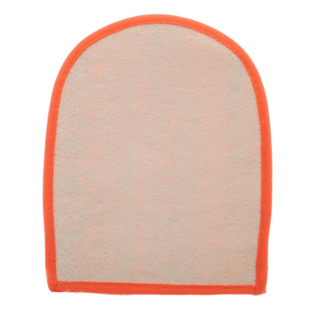 Мочалка-рукавица Home Queen, из люфы, цвет: оранжевый, 20 х 16 см