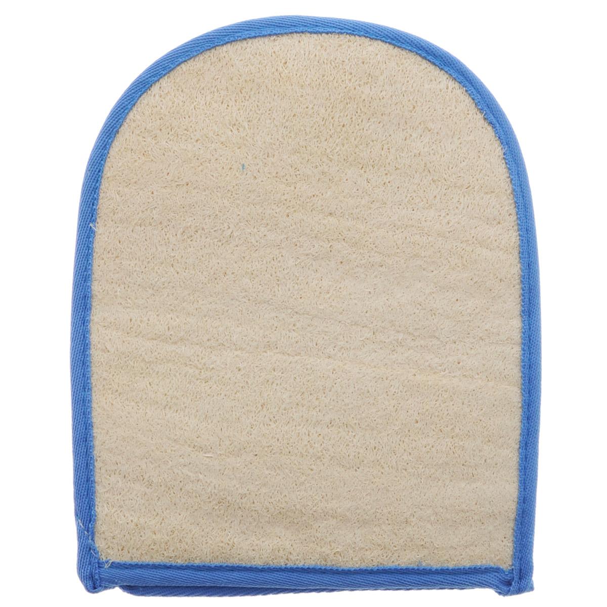 Мочалка-рукавица Home Queen, из люфы, цвет: синий, 20 х 16 см