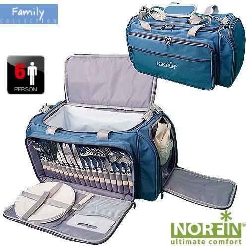 """Термосумка Norfin """"Forssa"""", с посудой, цвет: голубой, серый, 57 см х 30 см х 29 см ( NFL-40107 )"""