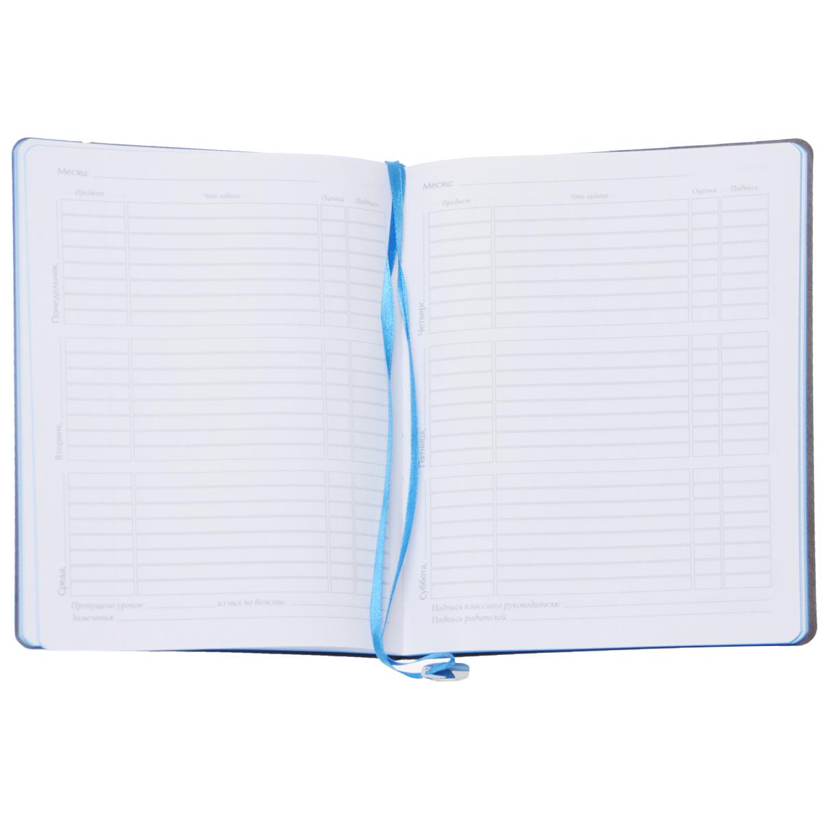 Дневник школьный Альт `Mercury`, 96 листов, формат А5, цвет: серый