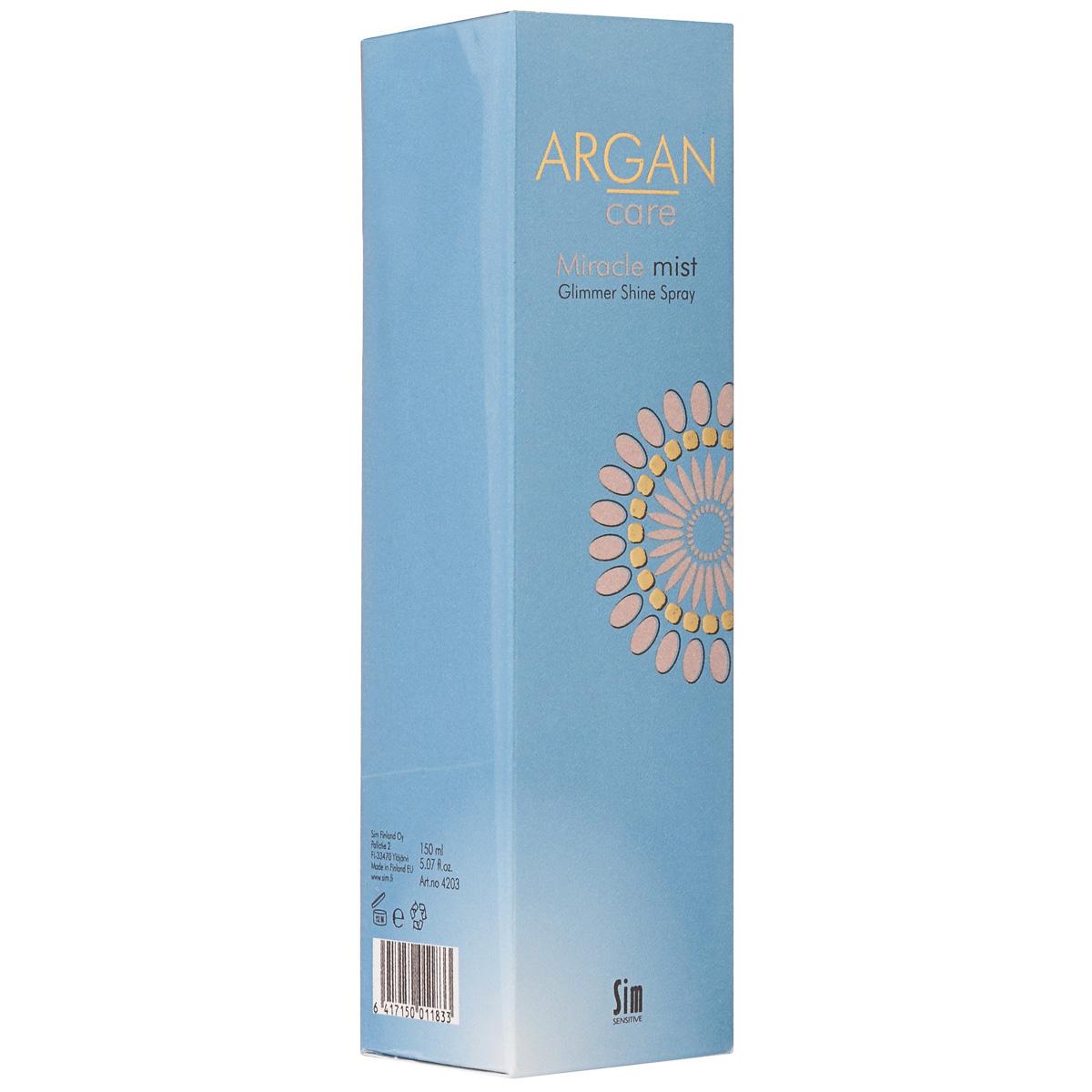 SIM SENSITIVE Спрей-блеск для волос средней фиксации Argan Care Miracle Mist Glimmer Shine Spray Миракл Мист Глиммер Шайн 150 мл (Sim Sensitive)