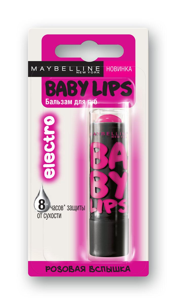 """Maybelline New York Бальзам для губ """"Baby Lips. Electro"""", восстанавливающий и увлажняющий, с цветом и запахом, Розовая Вспышка, 1,78 мл"""