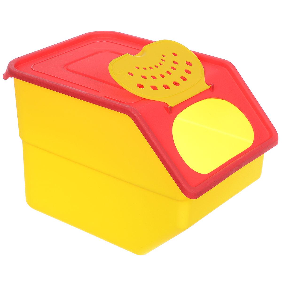 Контейнер для овощей Полимербыт Кухня, цвет: желтая крышка, красный, 11,2 лС82133 желтый, красныйПластиковый контейнер для овощей Полимербыт Кухня изготовлен таким образом, что позволяет овощам и фруктам дышать, обеспечивая их длительную свежесть. Изделие легкое и компактное, в то же время вместительное, прекрасно впишется в пространство вашей кухни.