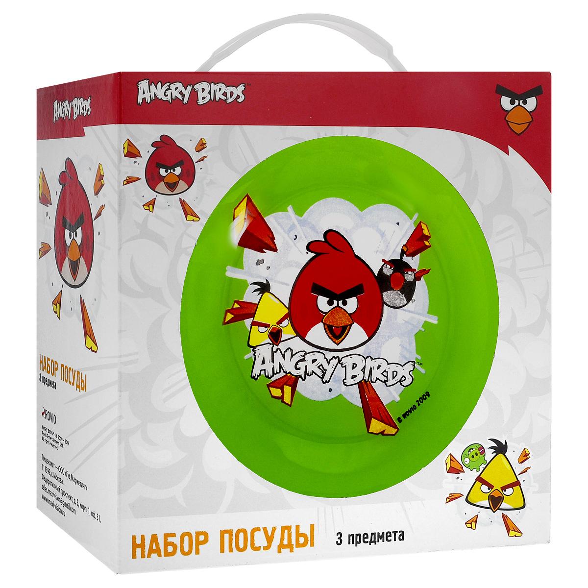 """Набор детской посуды """"Angry Birds"""", цвет: зеленый, 3 предмета"""