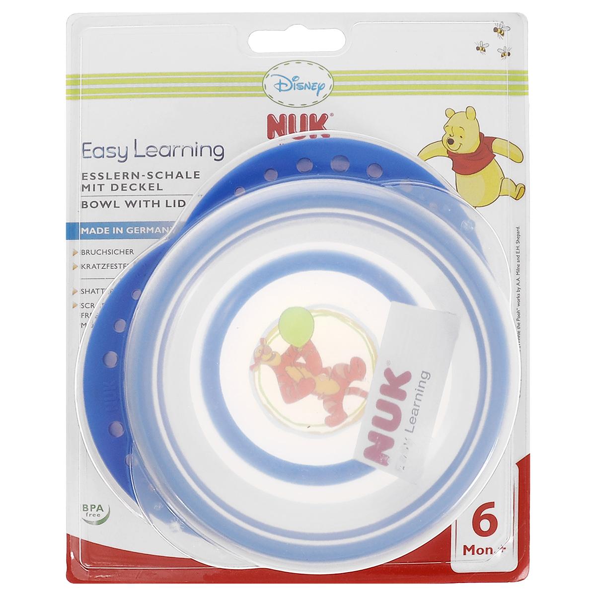 """Миска детская NUK """"Easy Learning"""", с крышкой, от 6 месяцев, цвет: синий"""