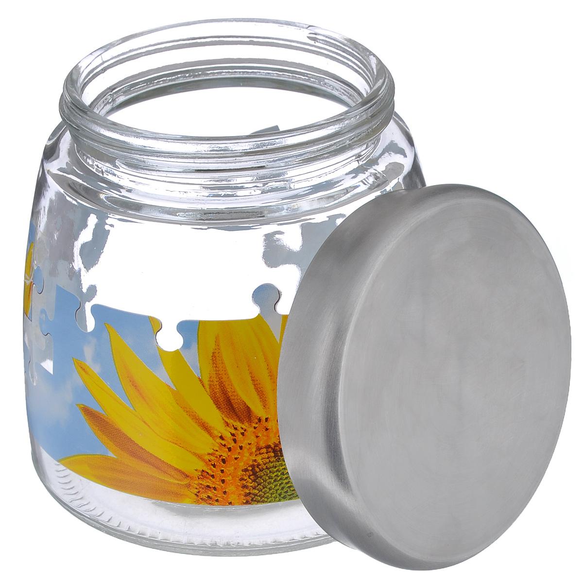 """Банка для сыпучих продуктов Cerve """"Пазл подсолнух"""", цвет: прозрачный, желтый, голубой, 980 мл"""