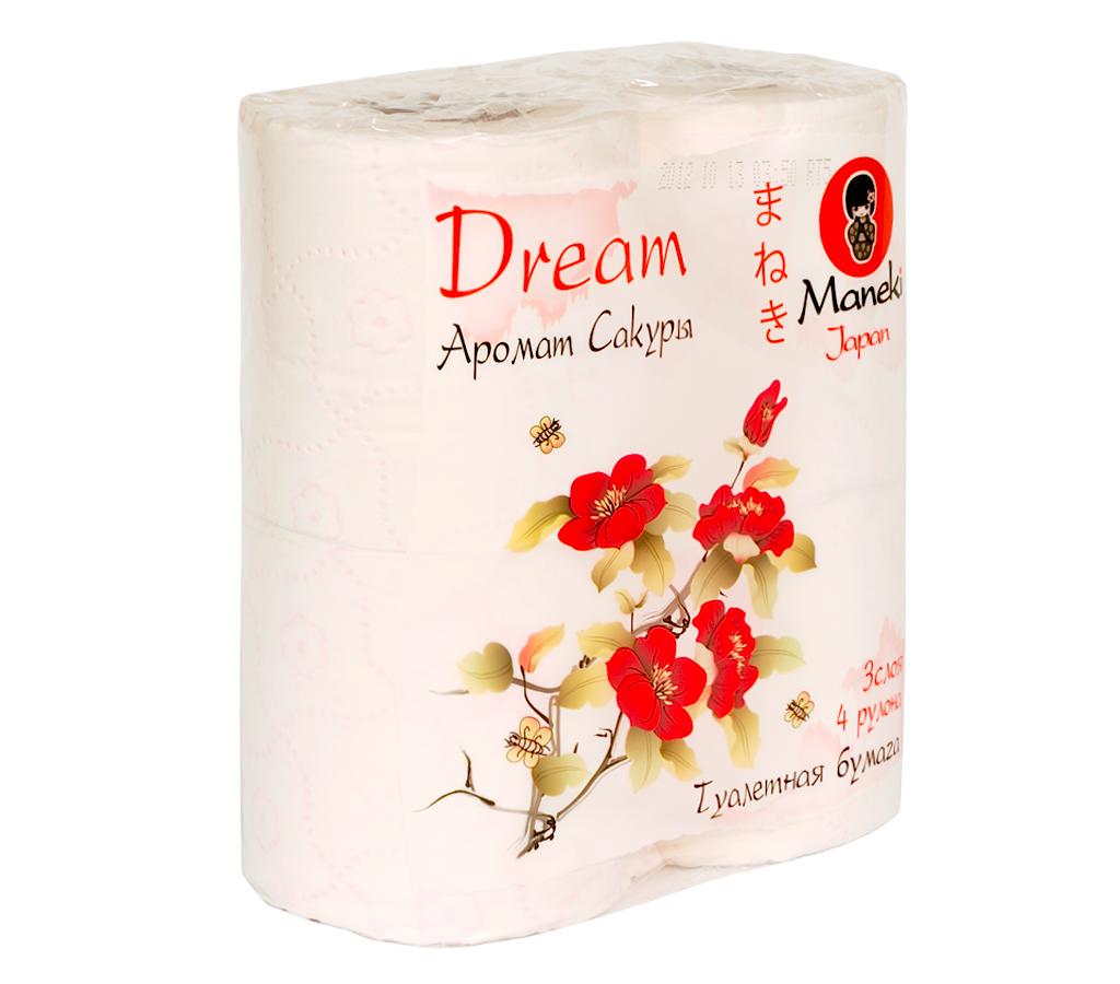 """Туалетная бумага Maneki """"Dream"""", с ароматом сакуры, 3 слоя, 4 рулона"""