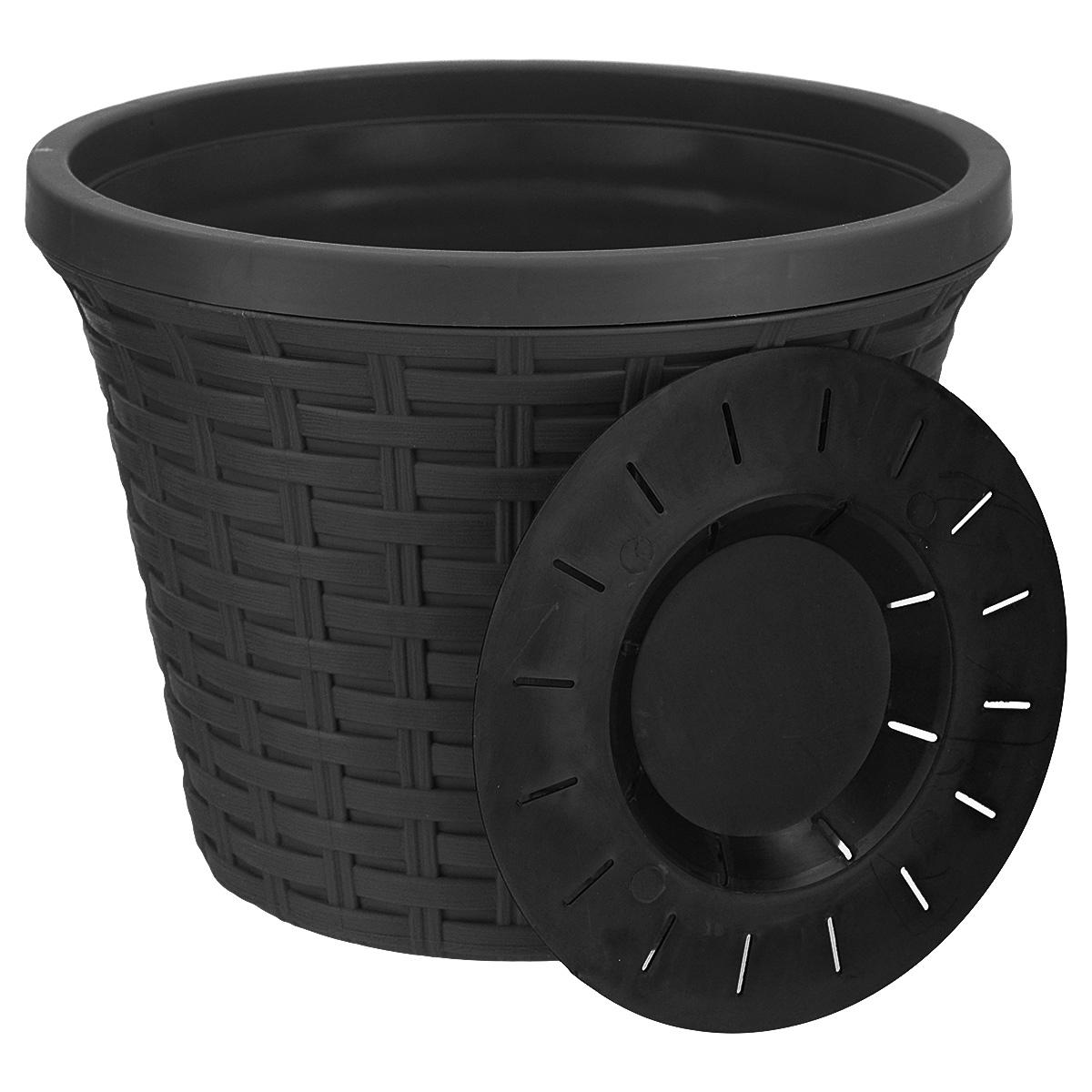 """Кашпо круглое Violet """"Ротанг"""", с дренажной системой, цвет: черный, 3,4 л"""