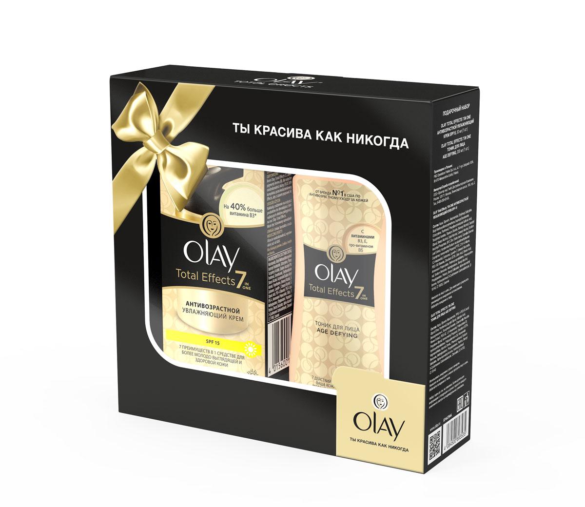 Olay Total Effects Подарочный набор антивозрастной увлажняющий крем SPF 15 (50 мл) + Olay Total Effects тоник для лица Age Defying (200 мл) (OLAY)