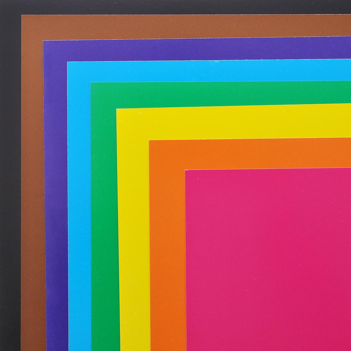 """Бриз Набор цветного картона """"Кошка с собачкой"""", двусторонний, мелованный, 8 цветов"""