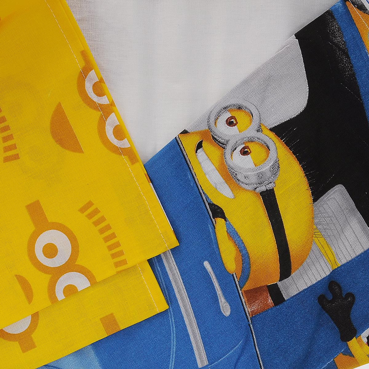 """Комплект белья Миньоны """"Погоня"""", 1,5-спальный, наволочка 70х70, цвет: желтый, белый, синий ( 286359 )"""