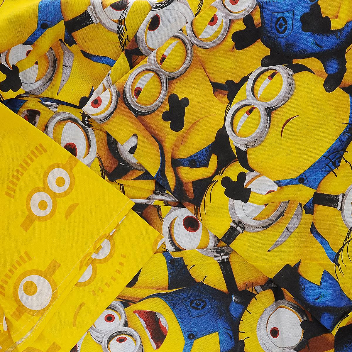 """Комплект белья """"Миньоны"""", 1,5-спальный, наволочка 70х70, цвет: желтый, синий ( 288762 )"""