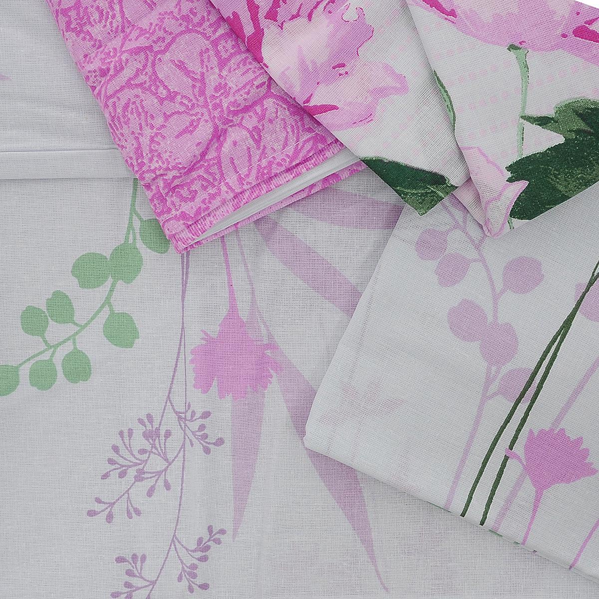 """Комплект белья Нежность """"Флоренция"""", семейный, наволочки 70x70, цвет: сиреневый, розовый, зеленый"""