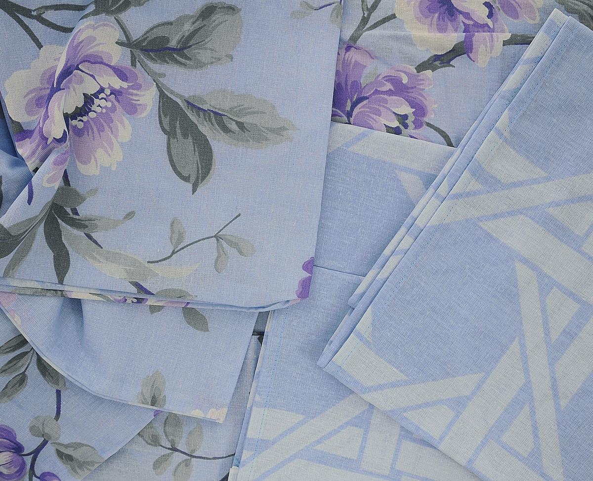 """Комплект белья Нежность """"Сиреневое утро"""", 1,5-спальный, наволочки 70х70, цвет: голубой, сиреневый. 190156"""