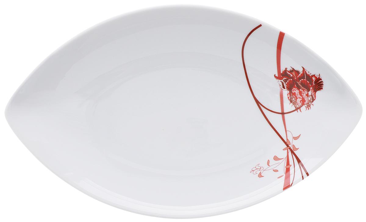 """Овальное блюдо La Rose Des Sables """"Kyoto"""", цвет: белый, красный, 26 см х 15,5 см"""