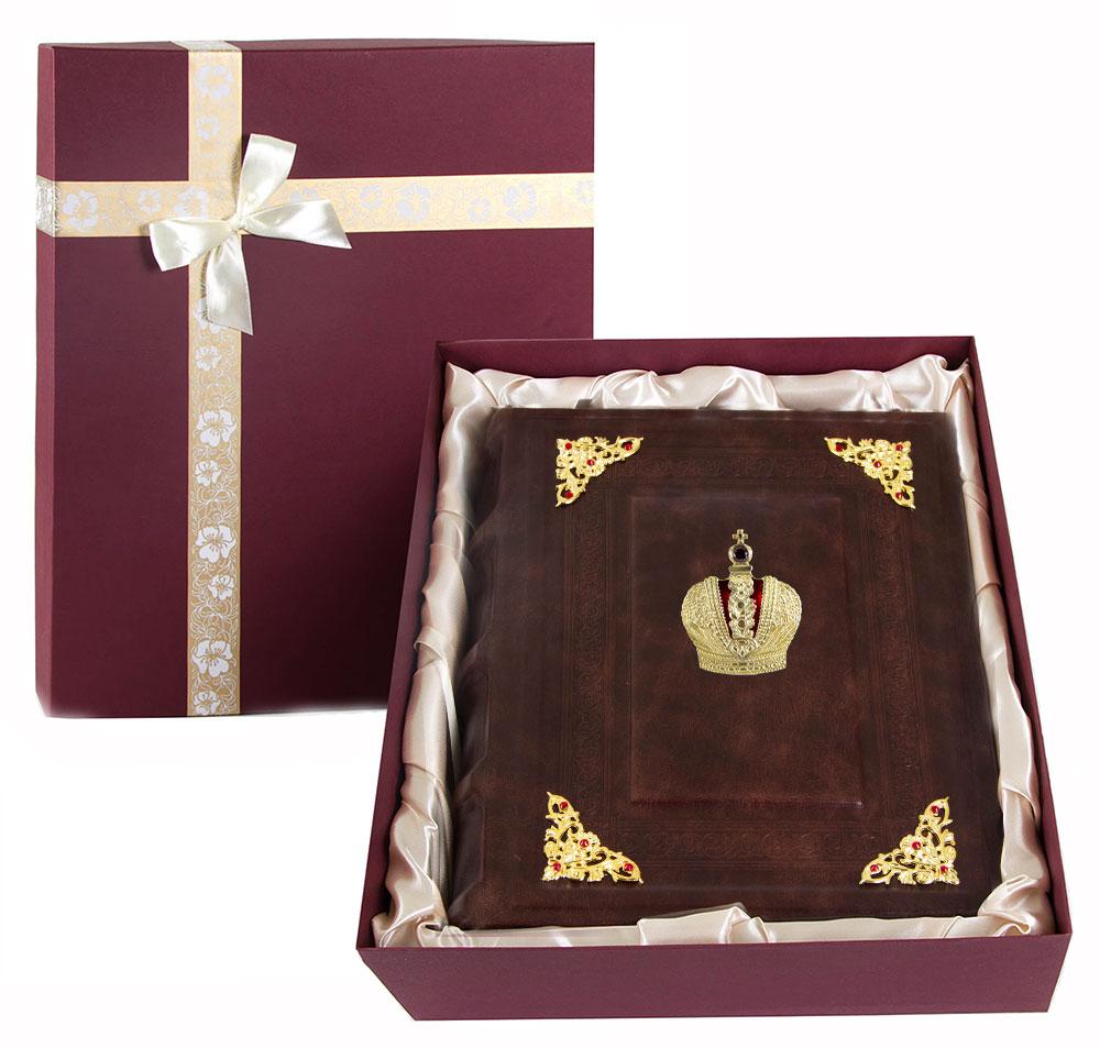 Фотоальбом кож. с уголками Корона в коробке