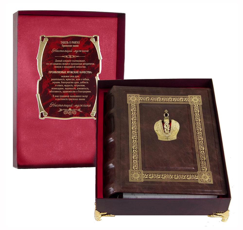 Фотоальбом кож. с тиснением Корона в коробке
