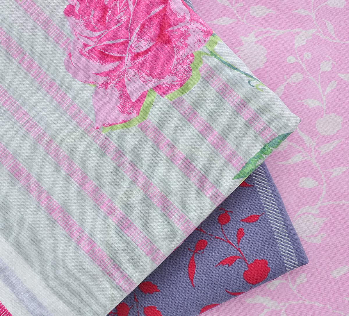 """Комплект белья Гармония """"Виктория"""", семейный, наволочки 70x70, цвет: розовый, белый, серый"""