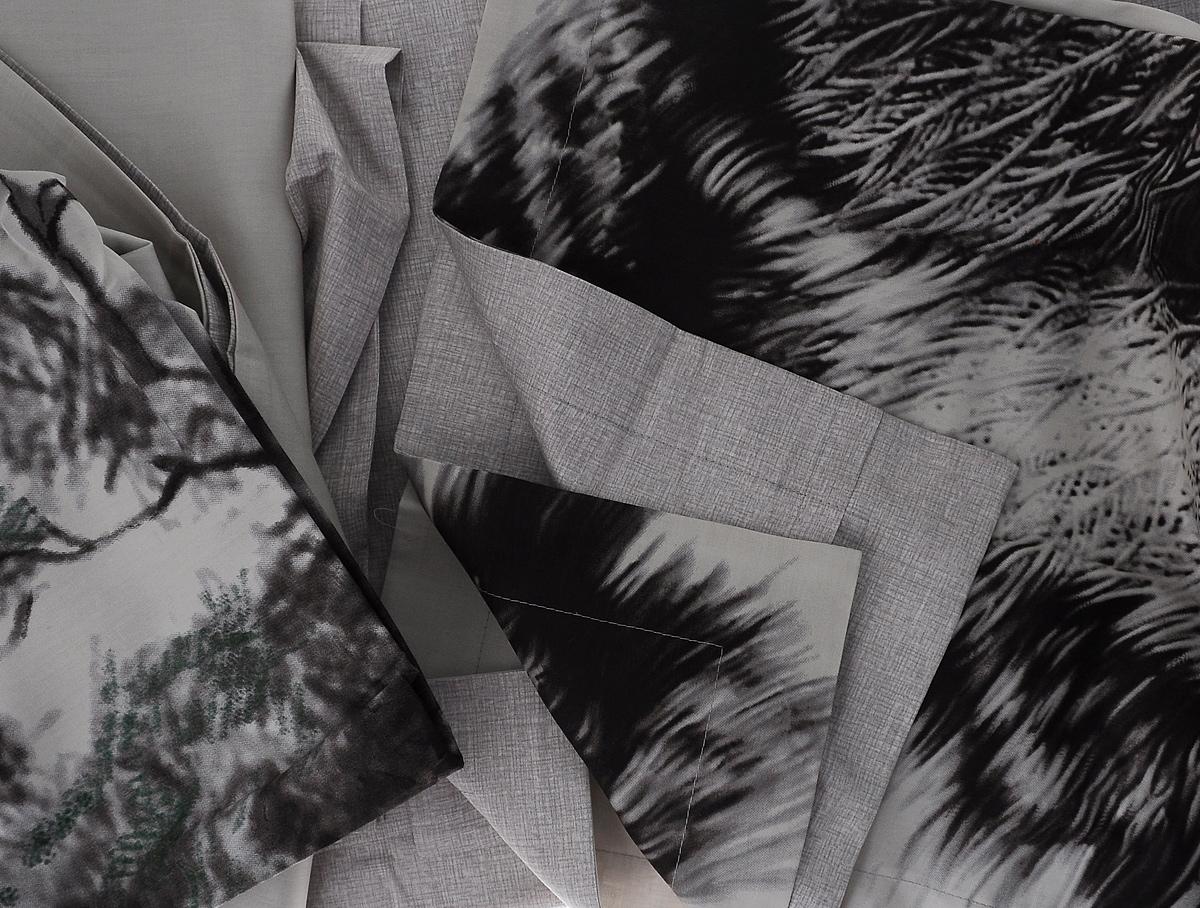 """Комплект белья Mona Liza """"Nature"""", 2-спальный, наволочки 50х70, 70х70, цвет: серый, бежевый, темно-коричневый"""