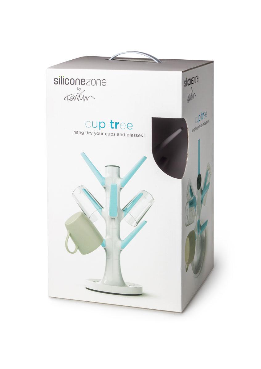 "Сушилка для стаканов и чашек ""SiliconeZone"", цвет: белый, голубой, 19,5 х 19,5 х 35 см"