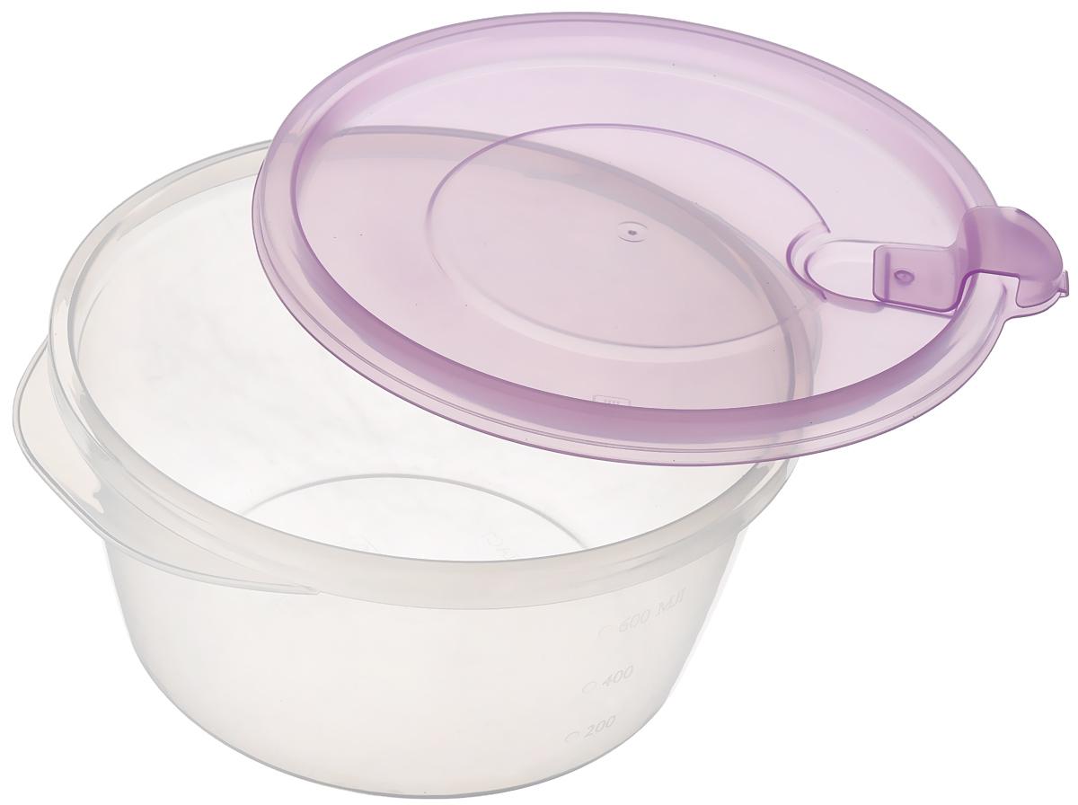"""Контейнер Phibo """"Фрэш"""", с клапаном, цвет: прозрачный, сиреневый, 750 мл"""