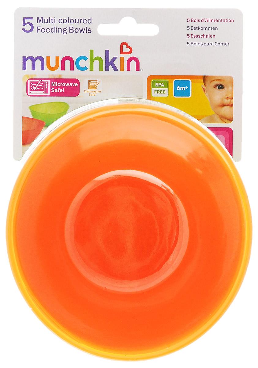 Munchkin Набор детских мисок 5 шт цвет салатовый, желтый, красный, оранжевый