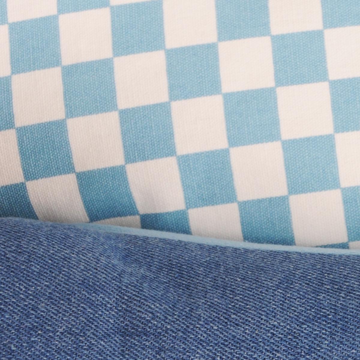 """Лежак для собак и кошек Fauna """"Continental Denim"""", цвет: голубой, белый, 60 см х 50 см х 21,5 см"""