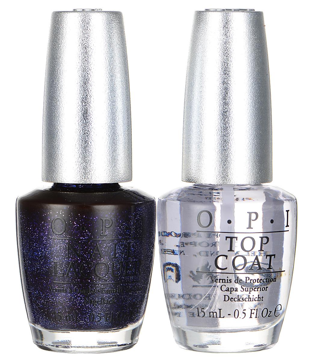 OPI Набор Lapis Duo Pack: лак для ногтей, тон DS Lapis, верхнее покрытие Top Coat Designer Series, 2 х 15 мл