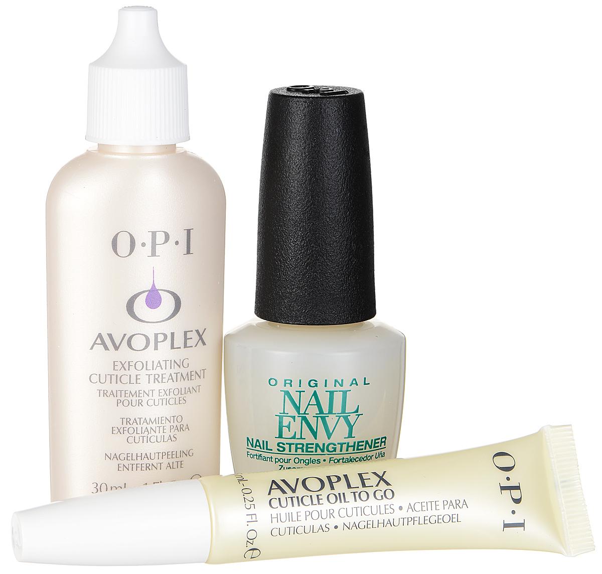 OPI Набор The Royal Mani: средство для кутикулы Avoplex, размягчающее, универсальное средство для ногтей Nail Envy, укрепляющее, масло для кутикулы Avoplex