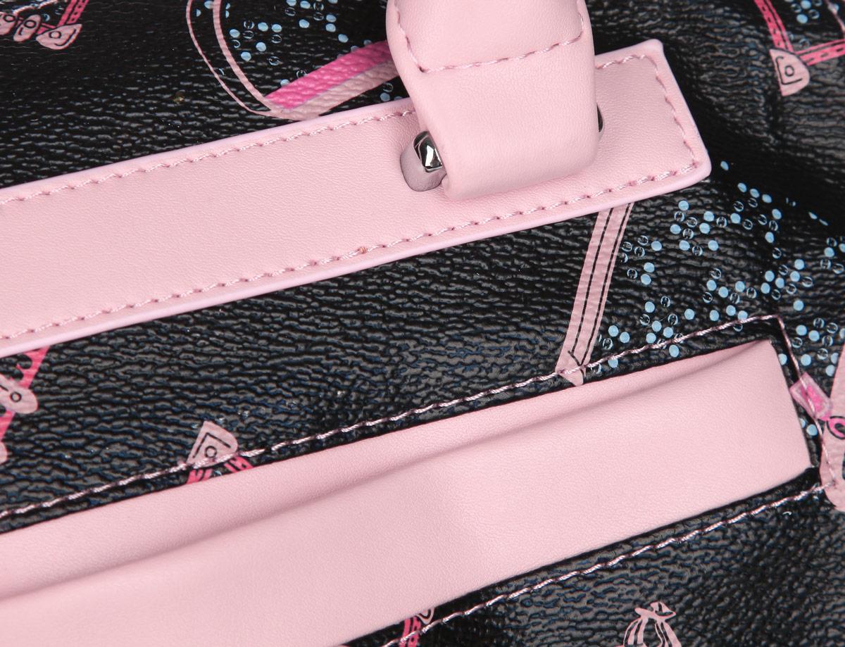 Сумка женская Leighton, цвет: черный, светло-розовый. 550220-1417/6/082/25 ( 550220-1417/6/082/25 роз/ )