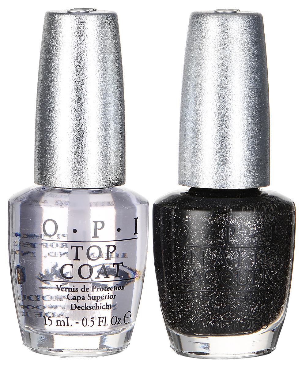 OPI Набор Pewter Duo Pack: лак для ногтей, тон DS pewter, верхнее покрытие Top Coat Designer Series, 2 х 15 мл