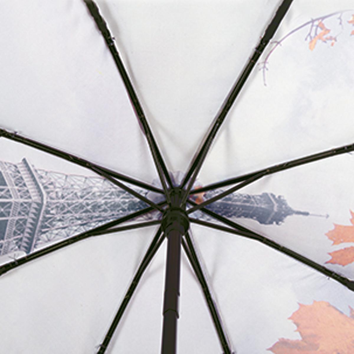 """Зонт женский Flioraj """"Bonjour, Paris!"""", автомат, 3 сложения, цвет: сине-фиолетовый, оранжевый. 231206 FJ ( 231206 FJ )"""