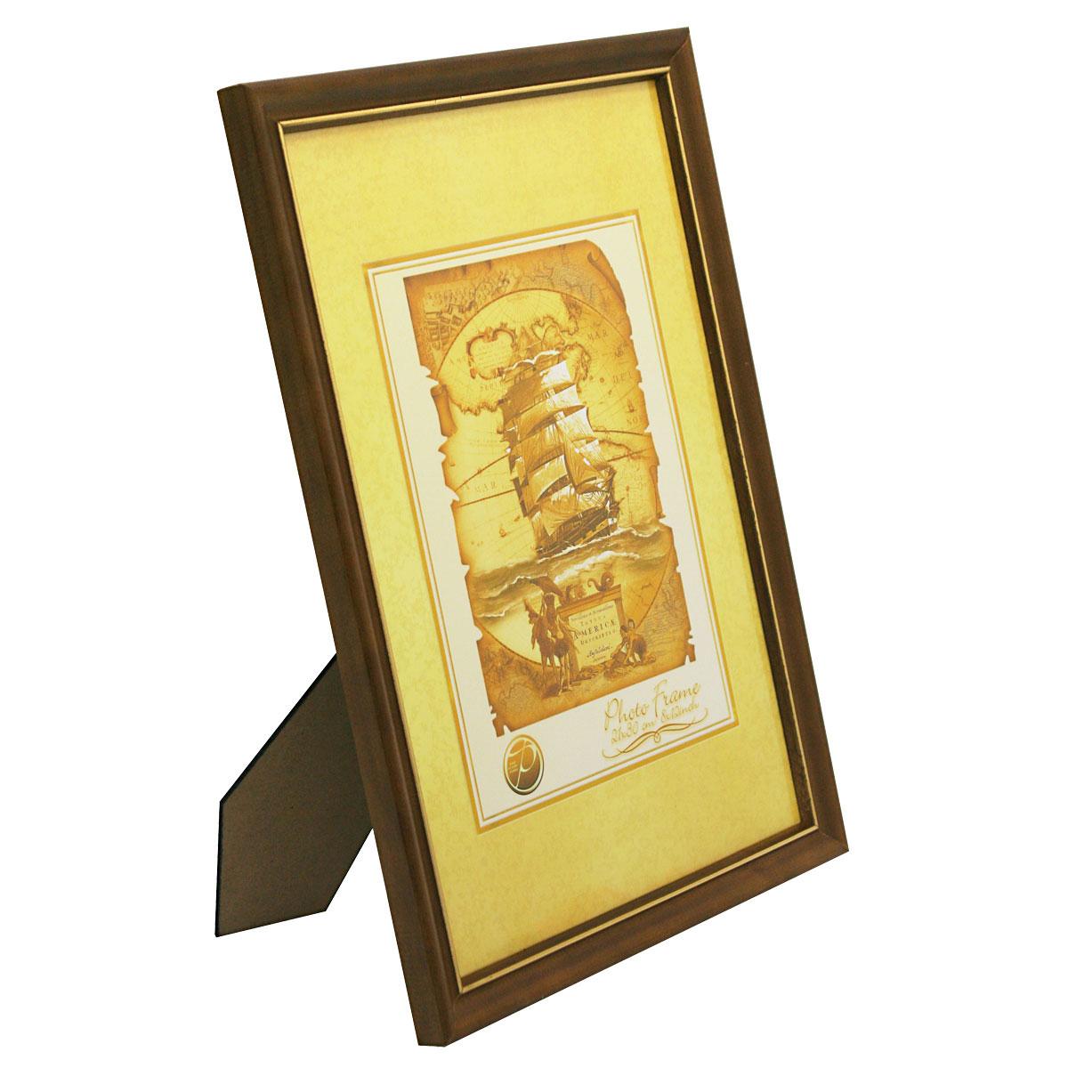"""Фоторамка Pioneer """"Nancy"""", цвет: темно-коричневый, золотистый, 21 х 30 см"""