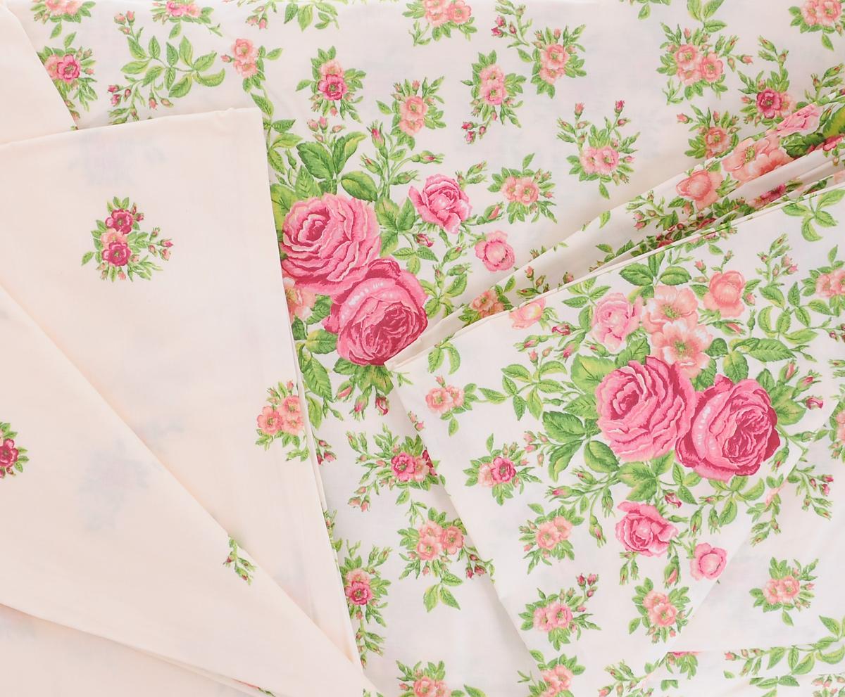"""Комплект белья Mirarossi """"Monica"""", 1,5-спальный, наволочки 70х70, цвет: светло-бежевый, розовый, зеленый"""