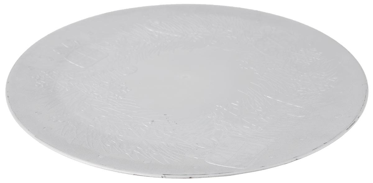 """Блюдо Lillo """"Новогоднее"""", цвет: серебристый, диаметр 33 см"""