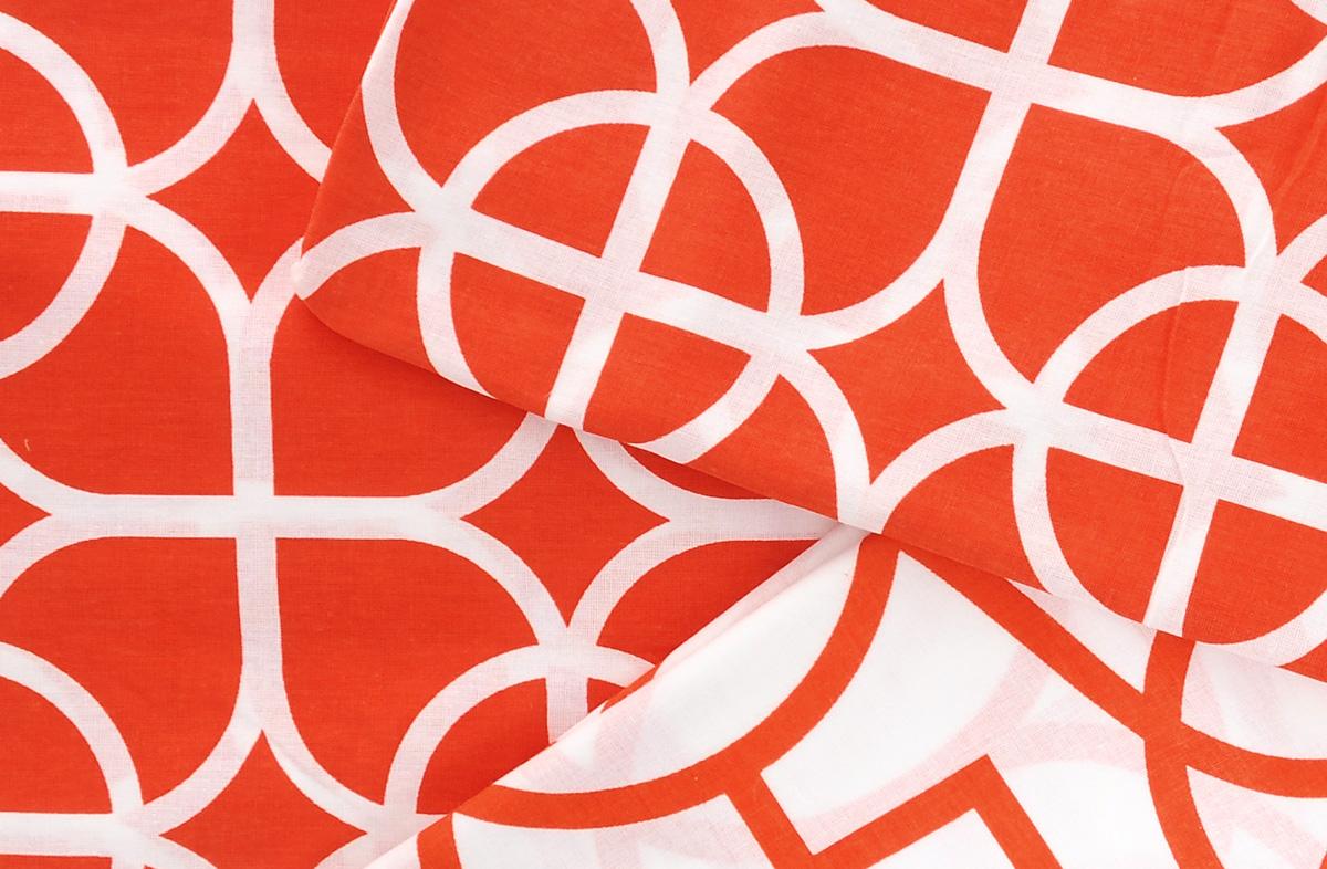 """Комплект белья Коллекция """"Гео"""", 1,5-спальный, наволочки 50х70, цвет: красный, белый"""