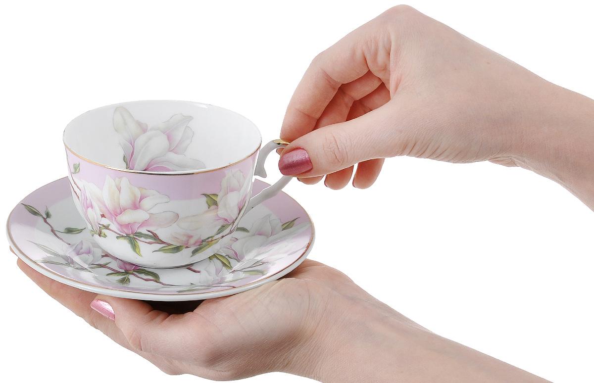 """Набор чайный Elan Gallery """"Магнолия"""", цвет: белый, светло-сиреневый, 6 предметов"""