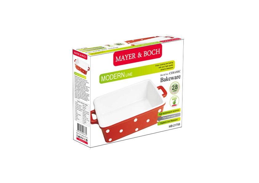 """Форма для выпечки """"Mayer & Boch"""", квадратная, цвет: красный, белый, 23 см х 23 см"""