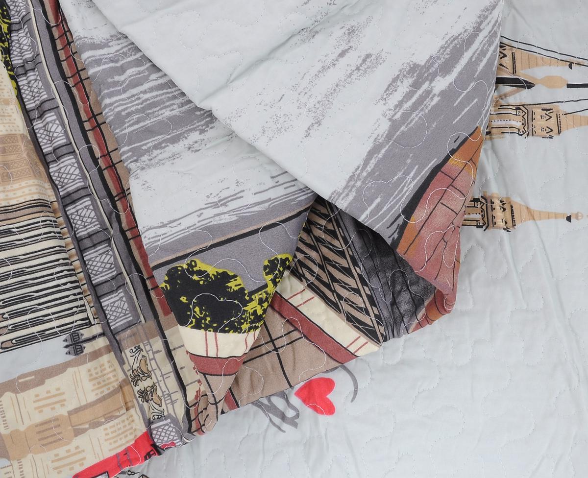 """Покрывало Cool """"Bridge"""", цвет: серый, бежевый, коричневый, 210 см х 235 см"""