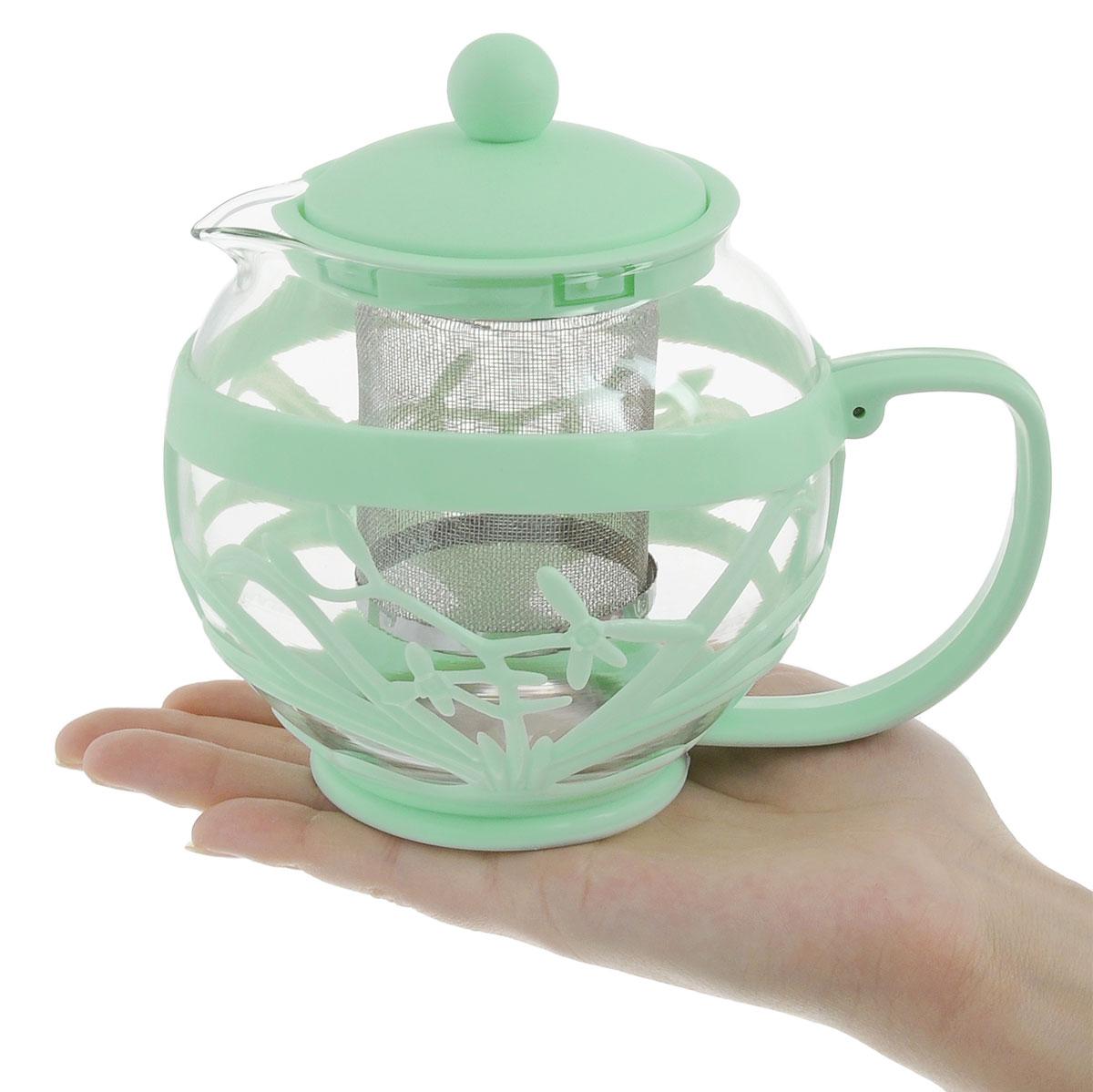"""Чайник заварочный Menu """"Мелисса"""", с фильтром, цвет: прозрачный, зеленый, 750 мл"""
