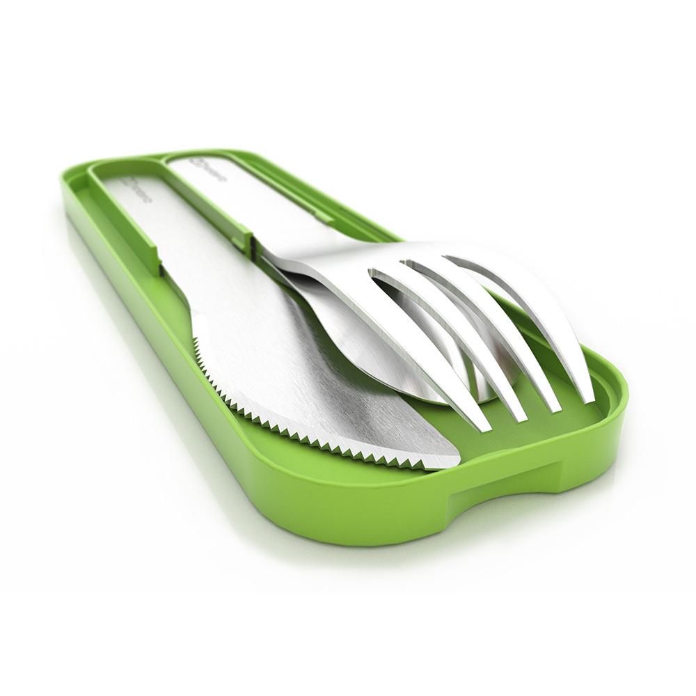 Набор из 3 столовых приборов в футляре MB Pocket зеленый. 1007 01 005