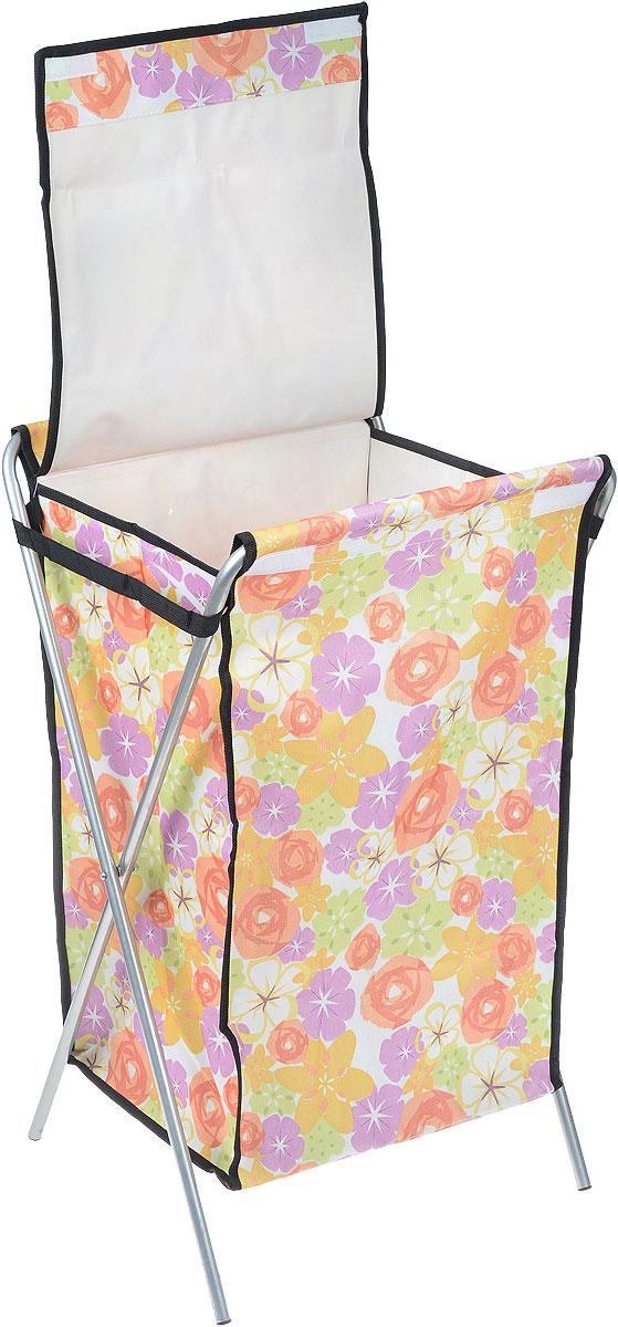 """Корзина для белья """"Яркие цветы"""", цвет: желтый, фиолетовый, оранжевый, 40 х 40 х 65 см"""