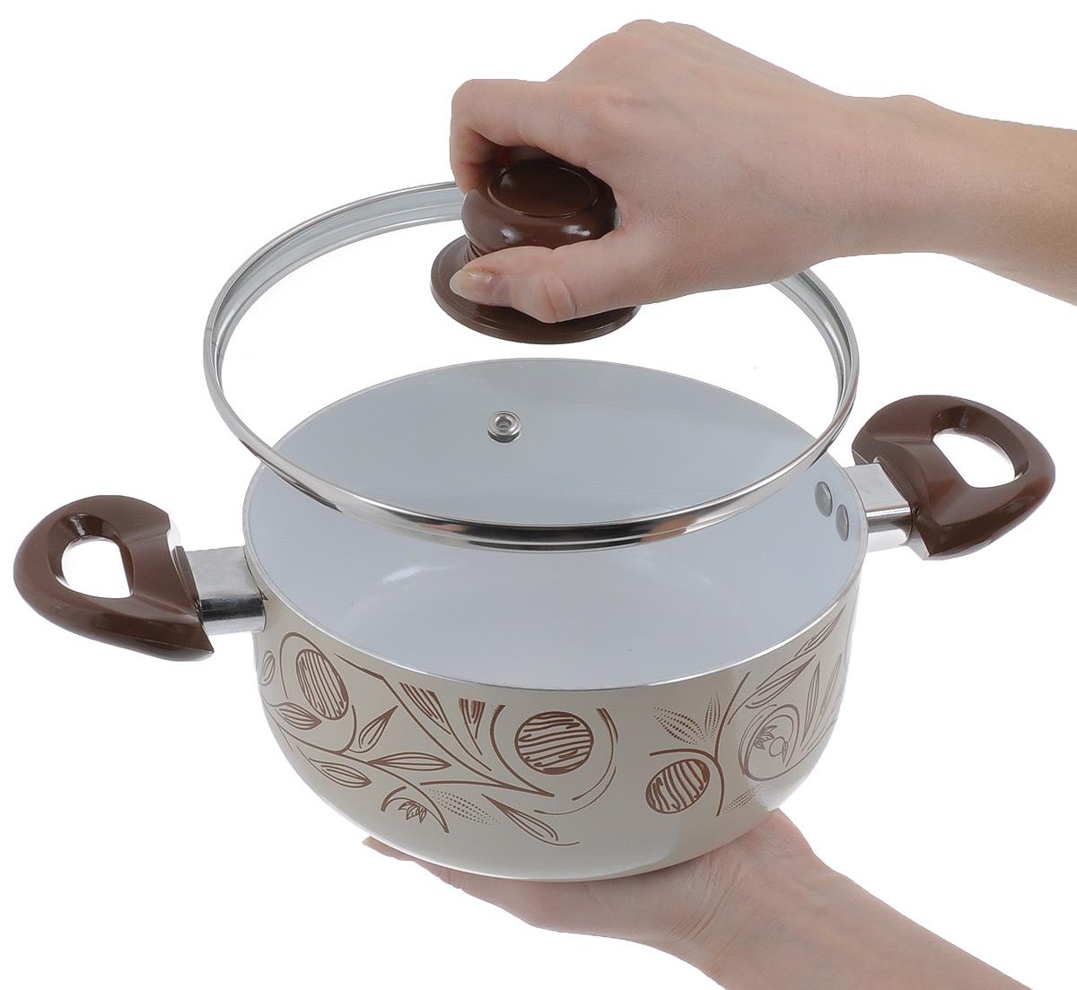 """Набор кухонной посуды Calve """"Premium Quality"""", цвет: бежевый, коричневый, 4 предмета"""