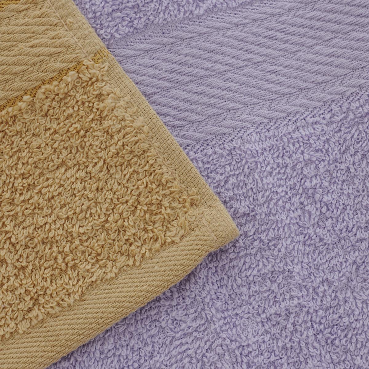 """Набор махровых полотенец """"Aisha Home Textile"""", цвет: светло-коричневый, сиреневый, 4 шт"""