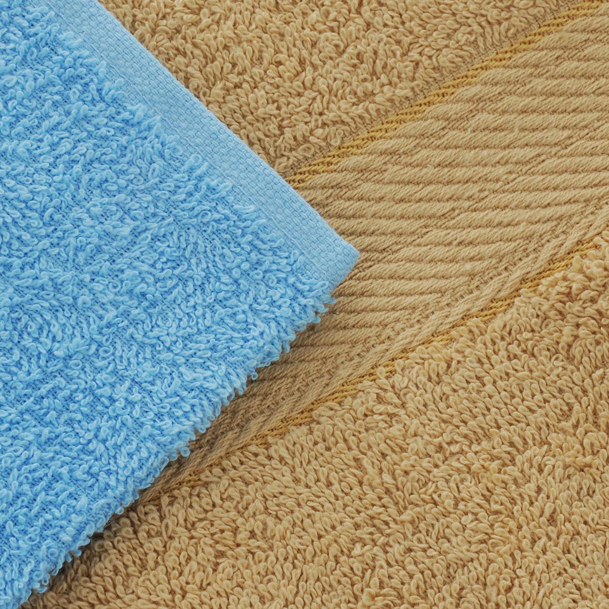 """Набор махровых полотенец """"Aisha Home Textile"""", цвет: светло-коричневый, голубой, 4 шт"""