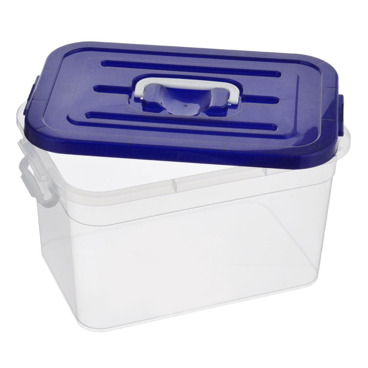 """Контейнер для хранения """"Полимербыт"""", цвет: темно-синий, 10 л"""