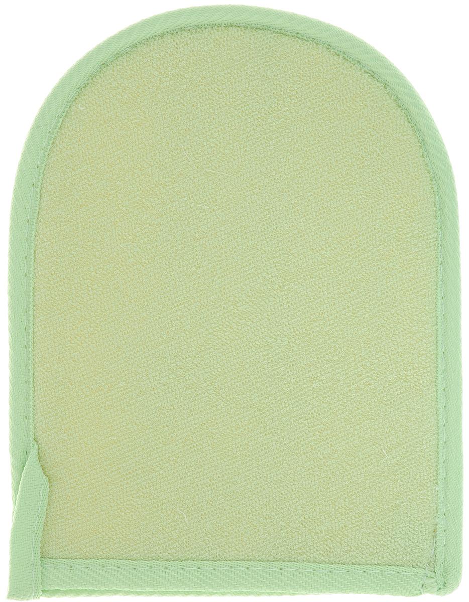 Мочалка-рукавица Home Queen, из люфы, цвет: светло-зеленый, 20 х 16 см